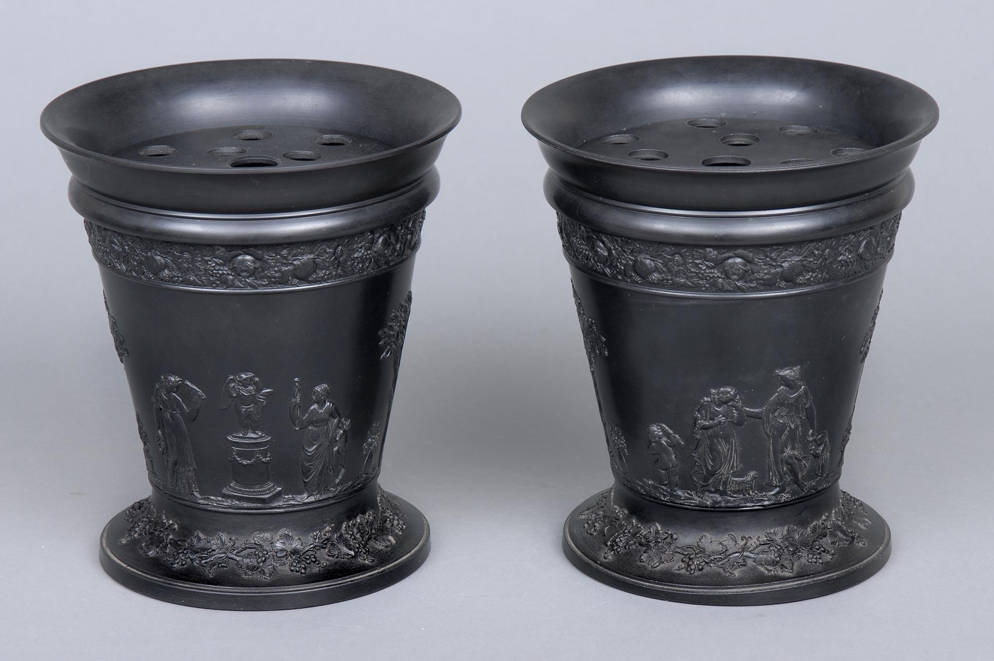 Basalt Flower Pots : Product pair wedgwood basalt bough pots