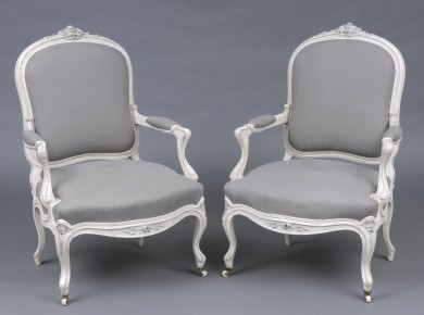 Pair Elegant Antique English Painted Rosewood Open Armchairs, Circa 1860