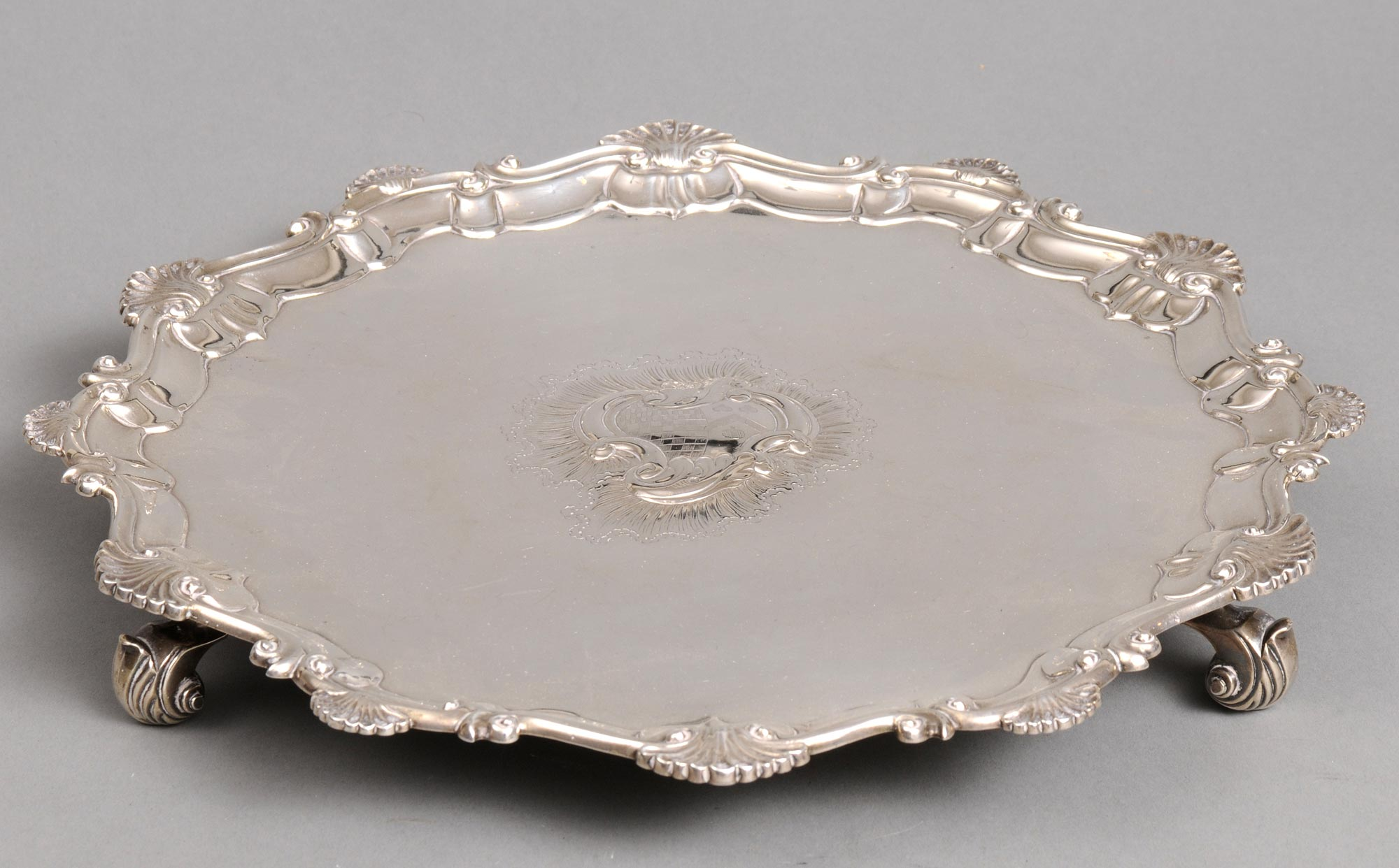 George Ii Sterling Silver Salver Circa 1754