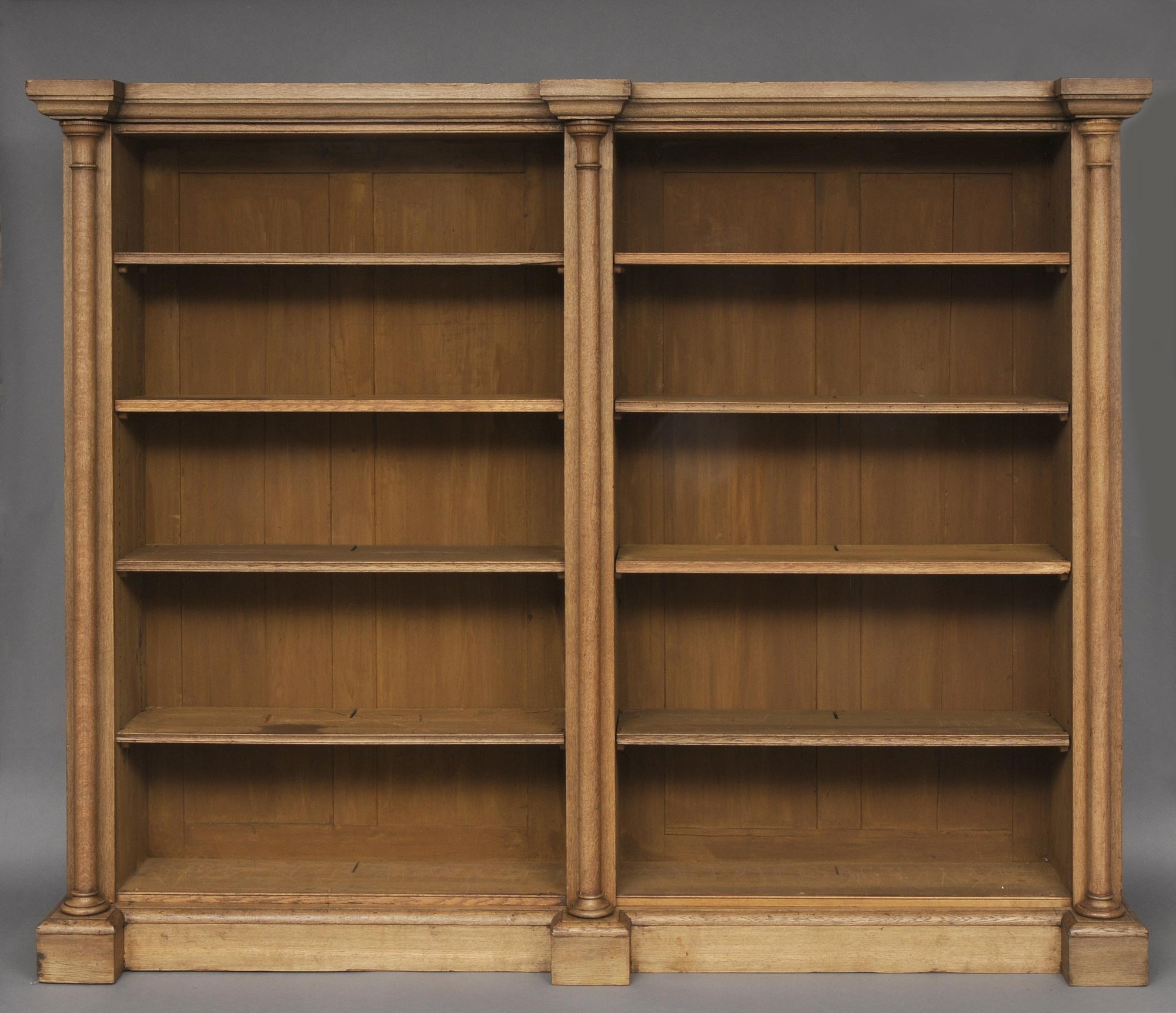 Antique English Bleached Oak Library Breakfronted Open