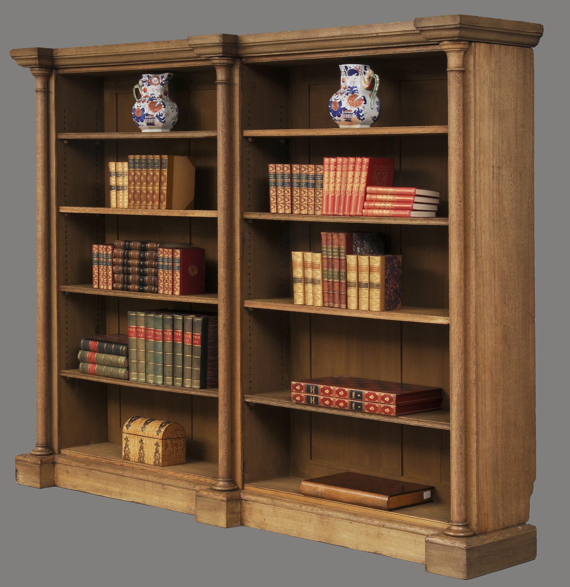English William Iv Bleached Oak Library Breakfronted Open Bookcase
