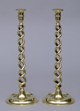English Antique Pair of Tall Brass Candlesticks