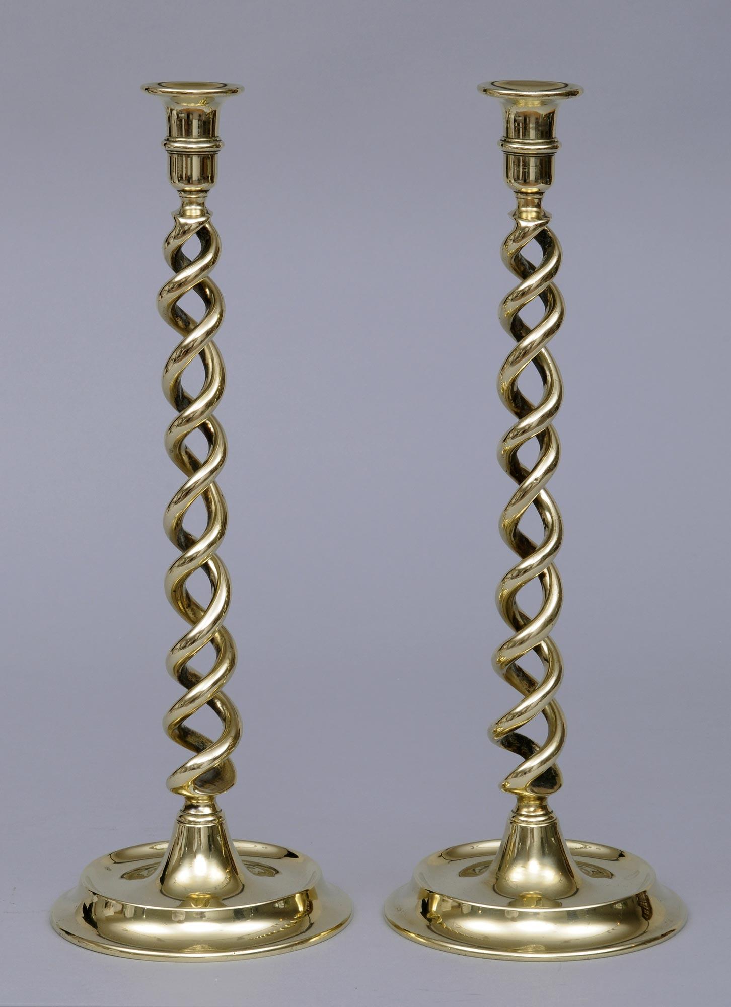 Brass Candlesticks product » pair tall brass candlesticks