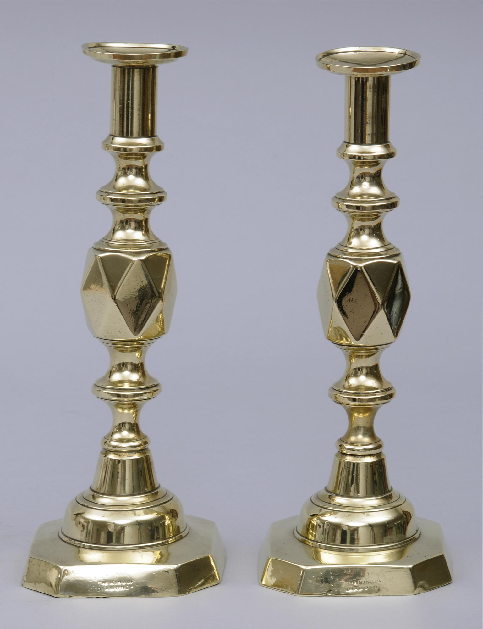 Antique English Victorian Pair Of Brass Candlesticks