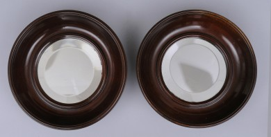English Antique Pair Small Round Mirrors