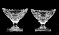 Pair American Cut Glass Open Salts, Circa 1800
