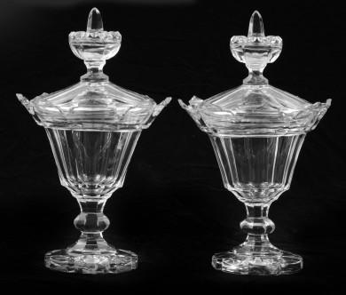 Pair Cut-Crystal Covered Comports