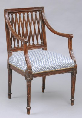 Italian Antique Walnut Open Armchair with Lattice Back, 18th Century