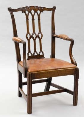 Chippendale Style English Antique Armchair in the Gothic Taste, Circa 1870