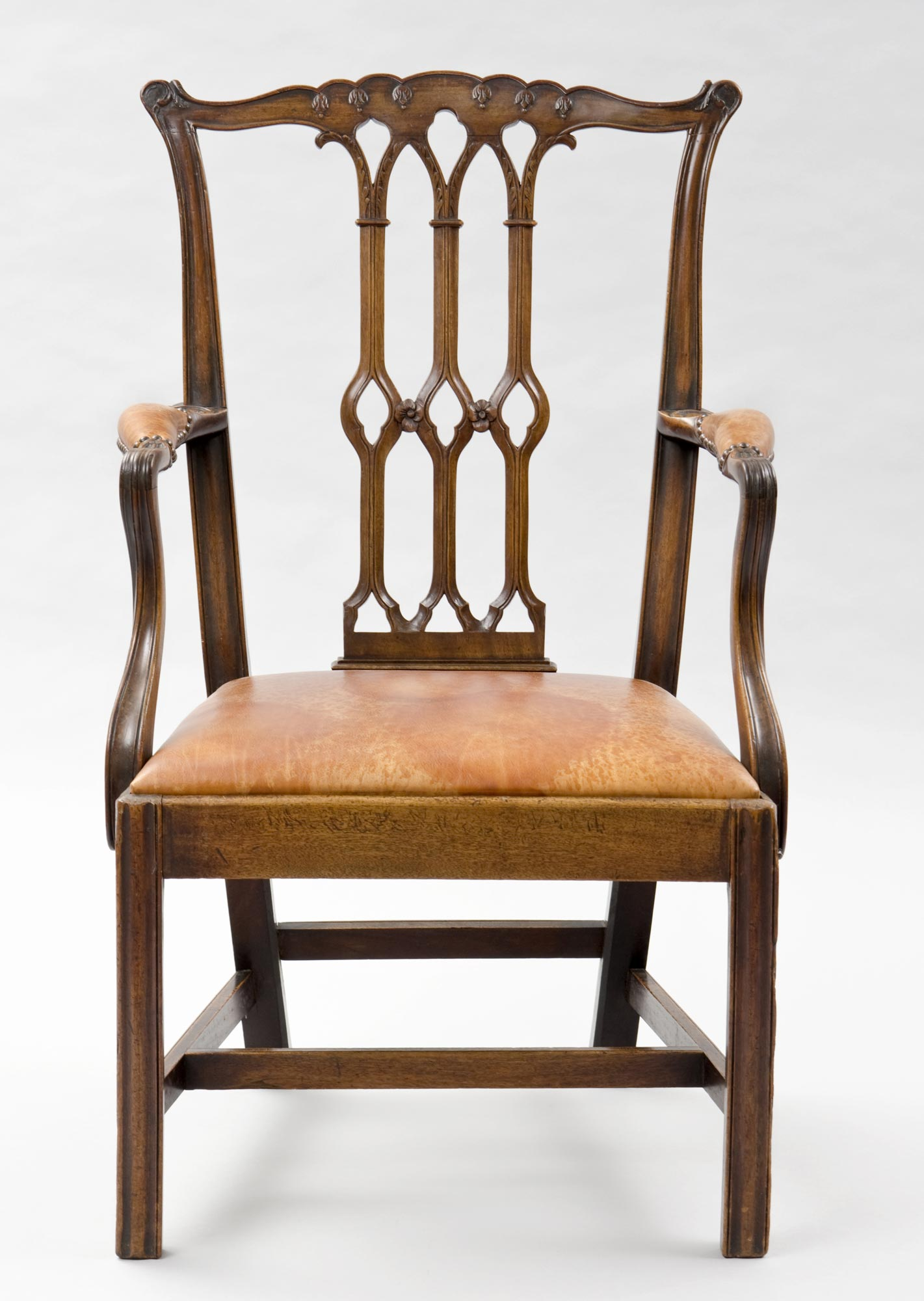 English Antique Armchairs Chippendale Style Gothic Taste