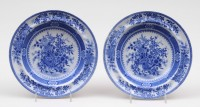 Pair Staffordshire Blue & White Soup Bowls