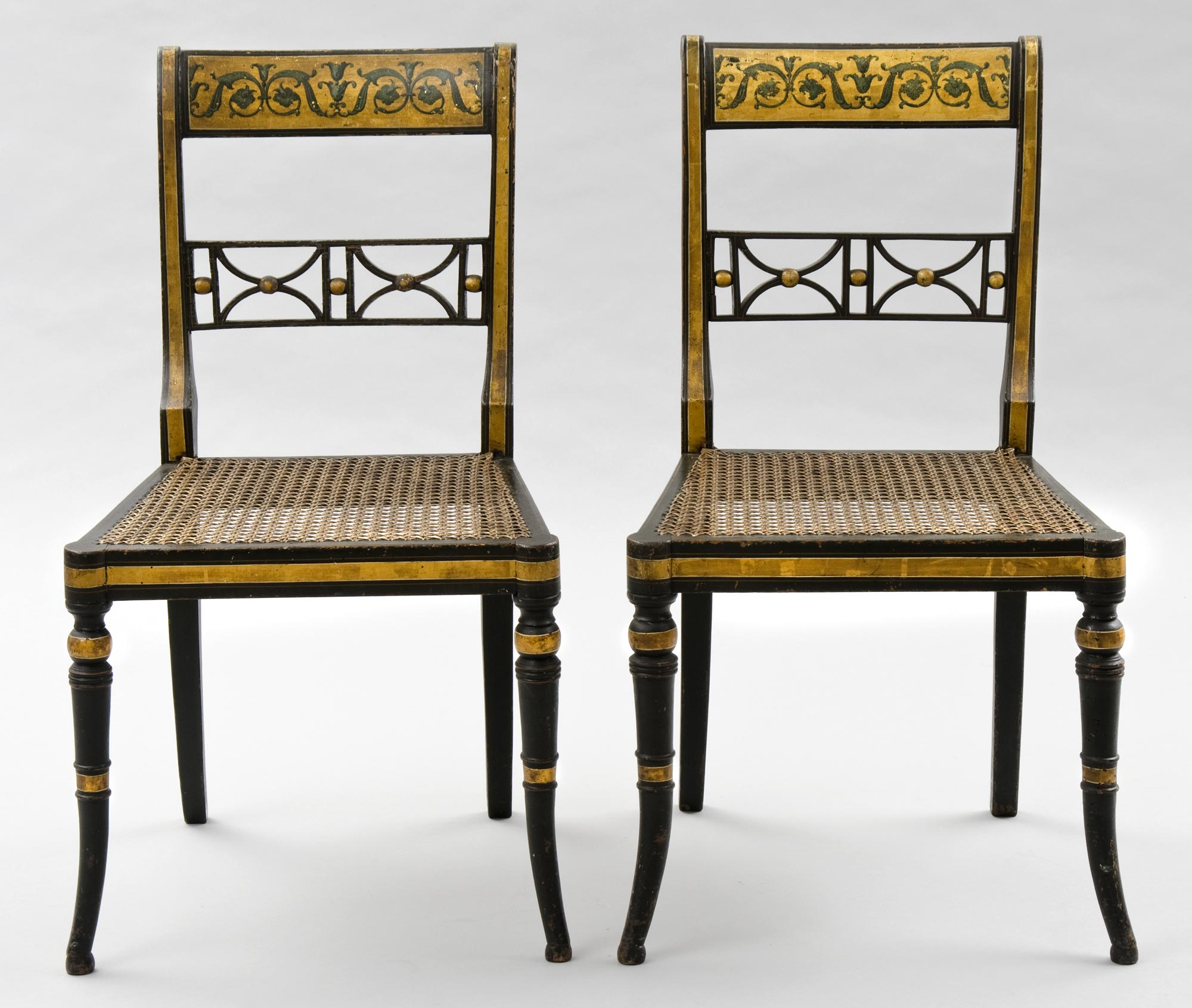 ... English Antique Pair Regency Gilded U0026 Caned Side Chairs ...