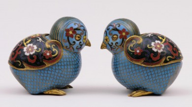 Chinese Cloisonne Quails, 19th Century