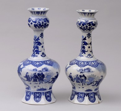 Pair Dutch Delft Bottle Vases, 19th Century