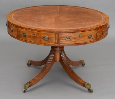 English Regency Period Mahogany Drum Table, Circa 1810