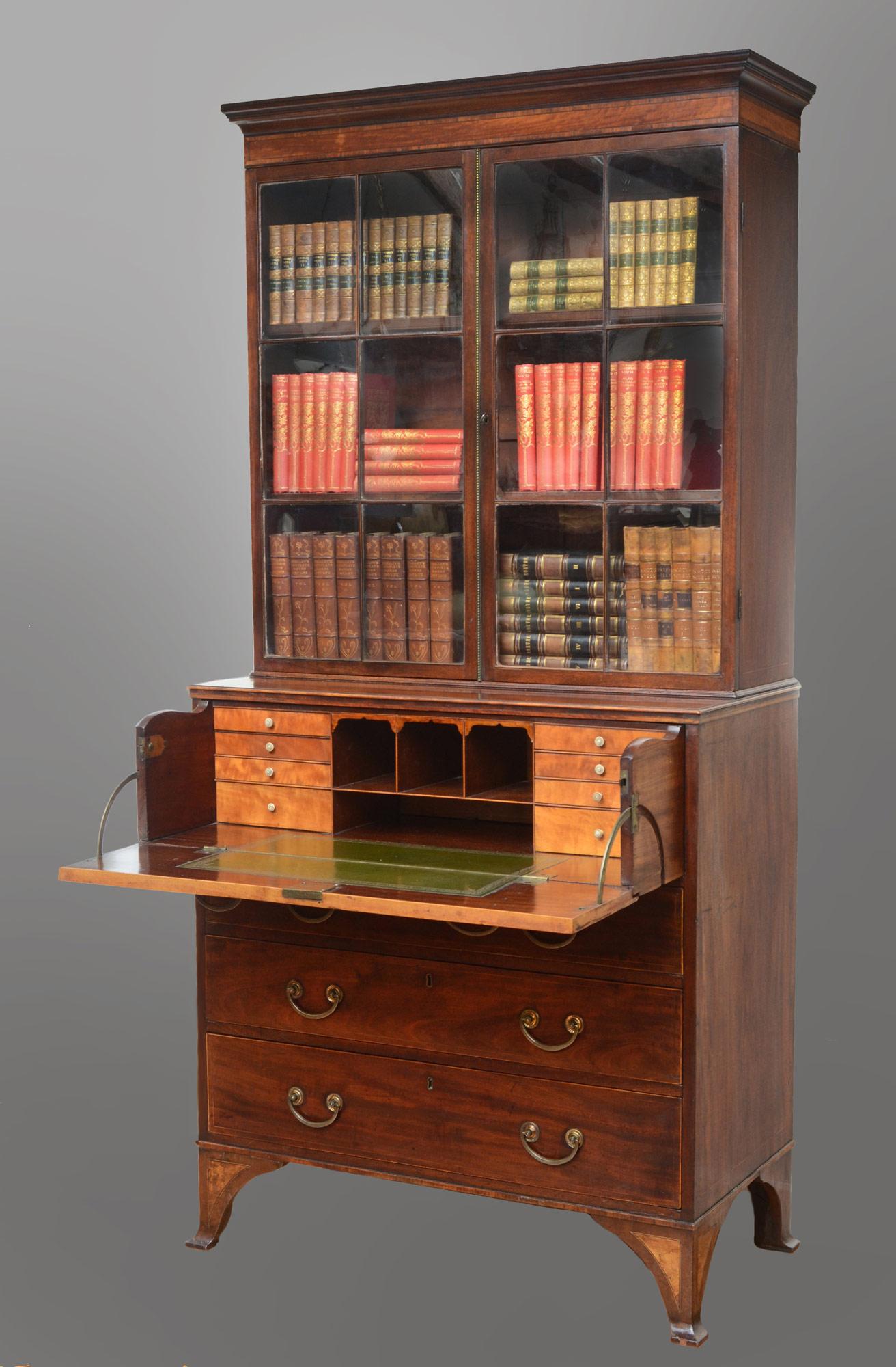 187 Product 187 English Antique Georgian Secretaire Bookcase