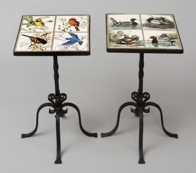 Antique Pair of Small Tiled Tables