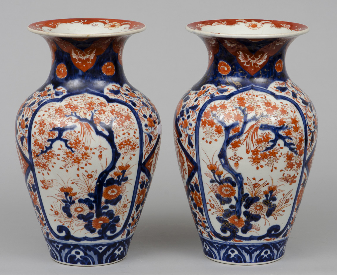 Pair Large Japanese Imari Open Vases Circa 1870