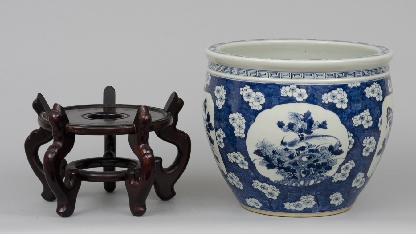 Chinese export jardiniere or fish bowl on stand circa 1880 for Fish bowl stand