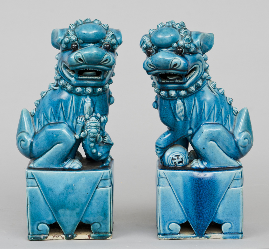 187 Product 187 Chinese Pair Turquoise Foo Dogs