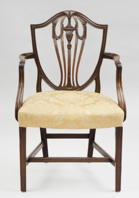 Antique English Period Hepplewhite Shield Back Armchair, 18th Century