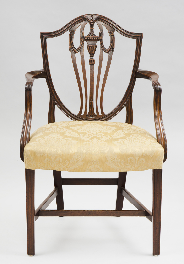 Antique English Period Hepplewhite Shield Back Armchair, 18th Century - Antique Armchairs English Hepplewhite Shield Back Antique Armchair