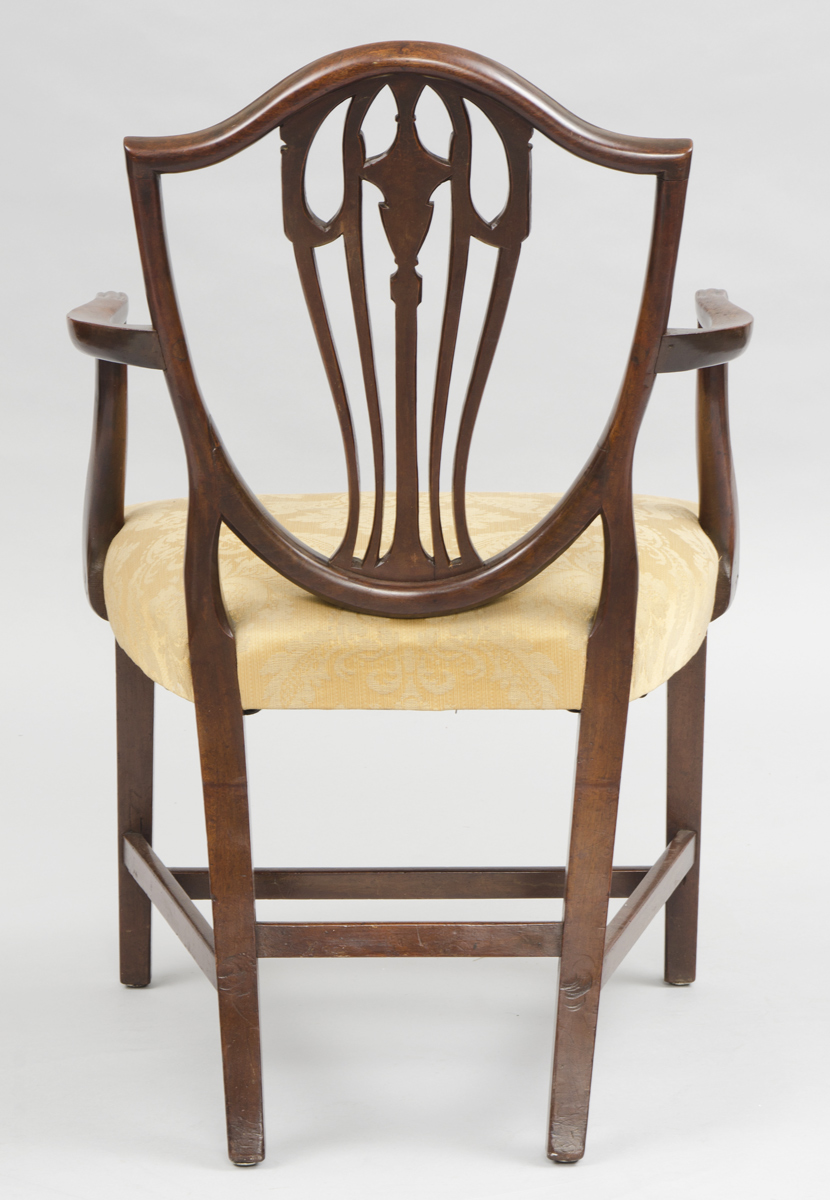 ... Antique English Period Hepplewhite Shield Back Armchair, 18th Century
