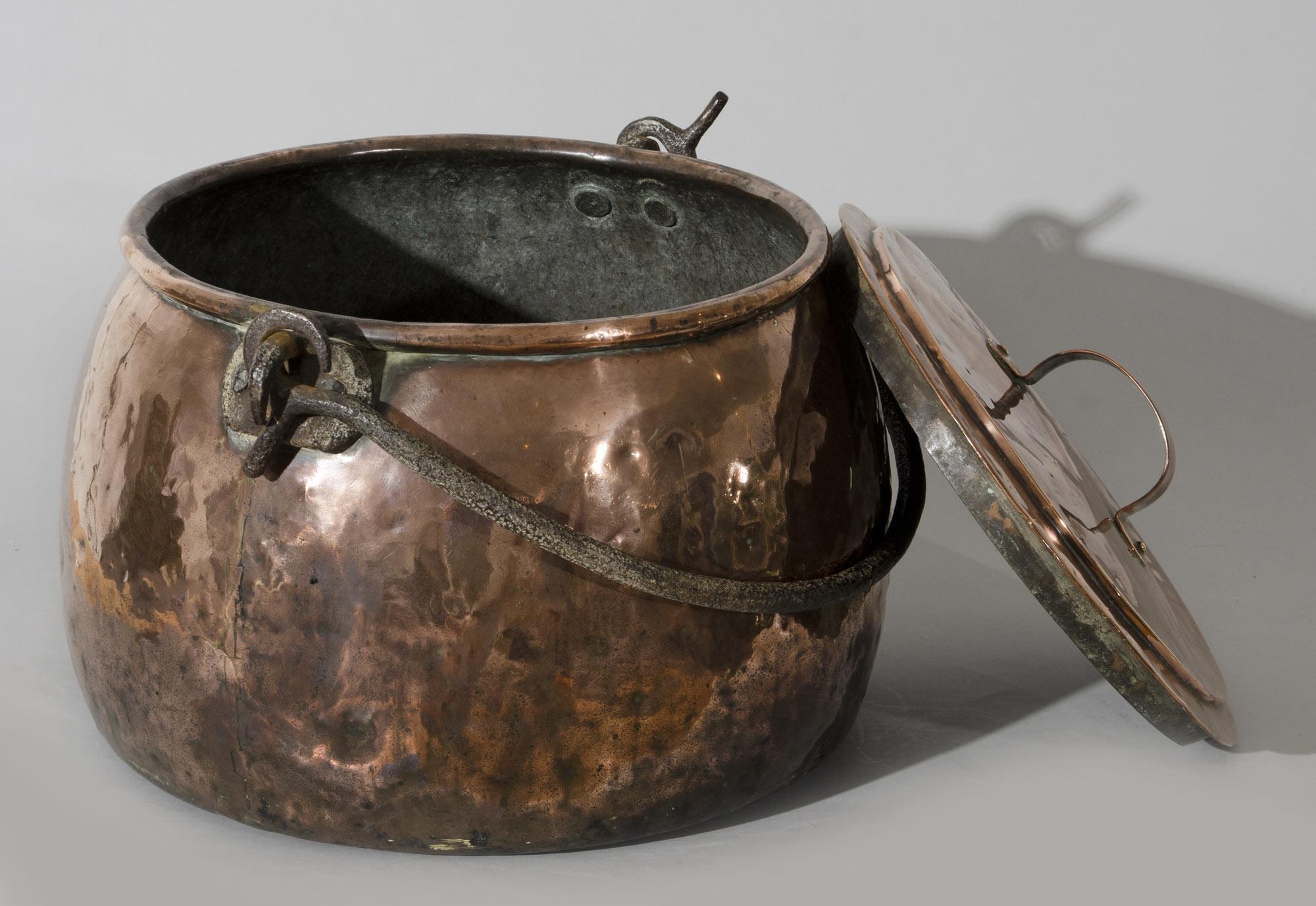 Large English Antique Copper Pot Circa 1810