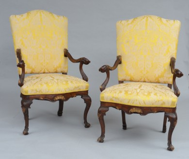 Superb Pair Italian Venetian Baroque Walnut Armchairs, 18th Century