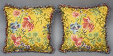 Pair Silk Cushions