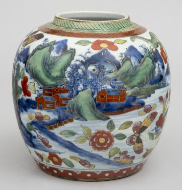 Chinese Qianlong Period Blue & White Clobbered Ginger Jar