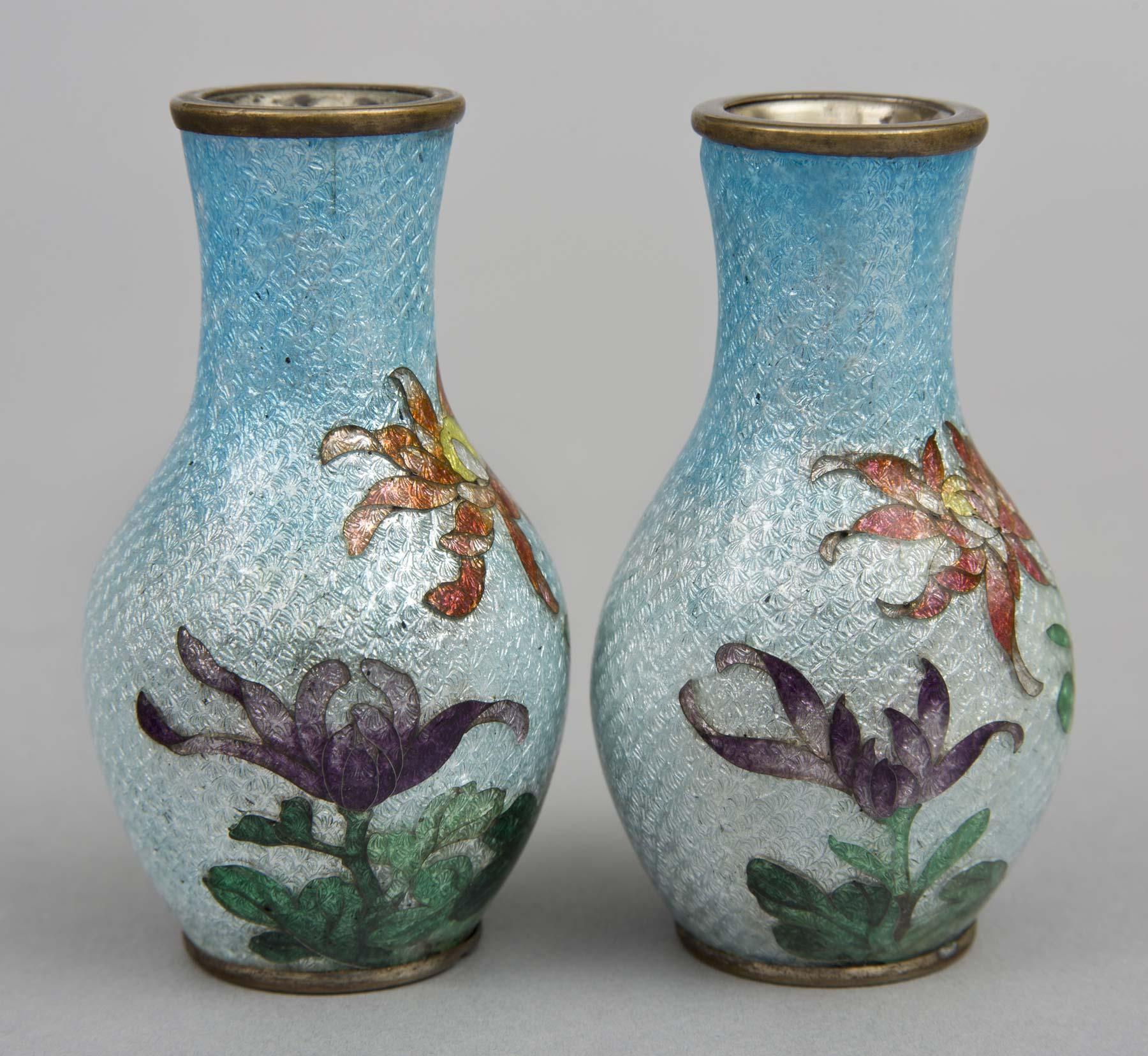 Pair japanese ginbari cloisonne miniuature vases pair of japanese miniature ginbari cloisonne vases reviewsmspy