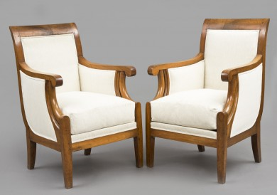 Pair French Louis Phillipe Walnut Bergeres, Circa 1840