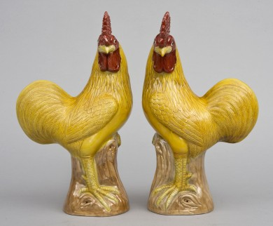 Pair Chinese Yellow Roosters