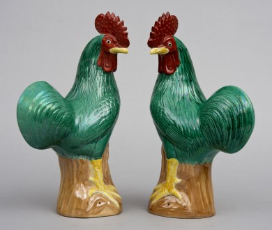 Pair Chinese Green Roosters