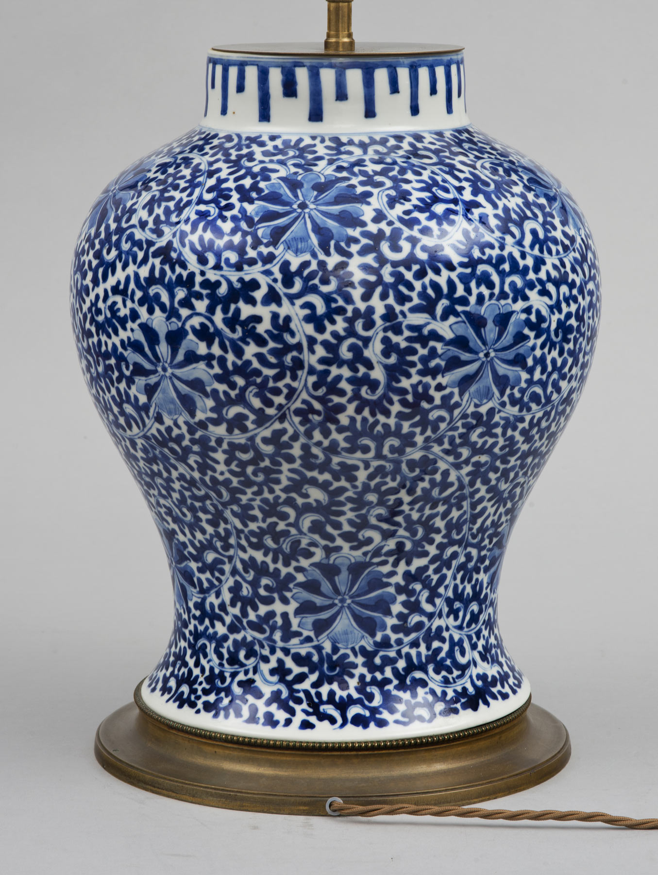 Chinese Blue Amp White Porcelain Vase Lamp Circa 1880
