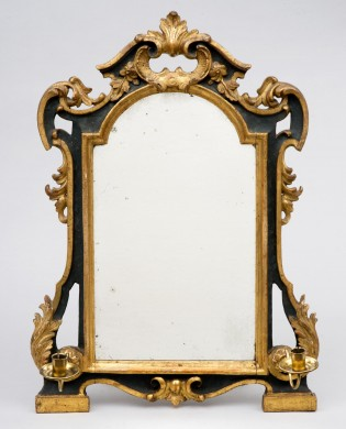 Eighteenth Century Italian Green & Parcel Gilded Mirror