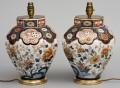 Antique Pair Imari Vase Lamps, Circa 1840