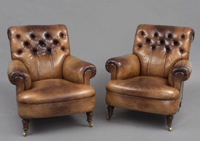 Antique English Pair Leather Club Chairs