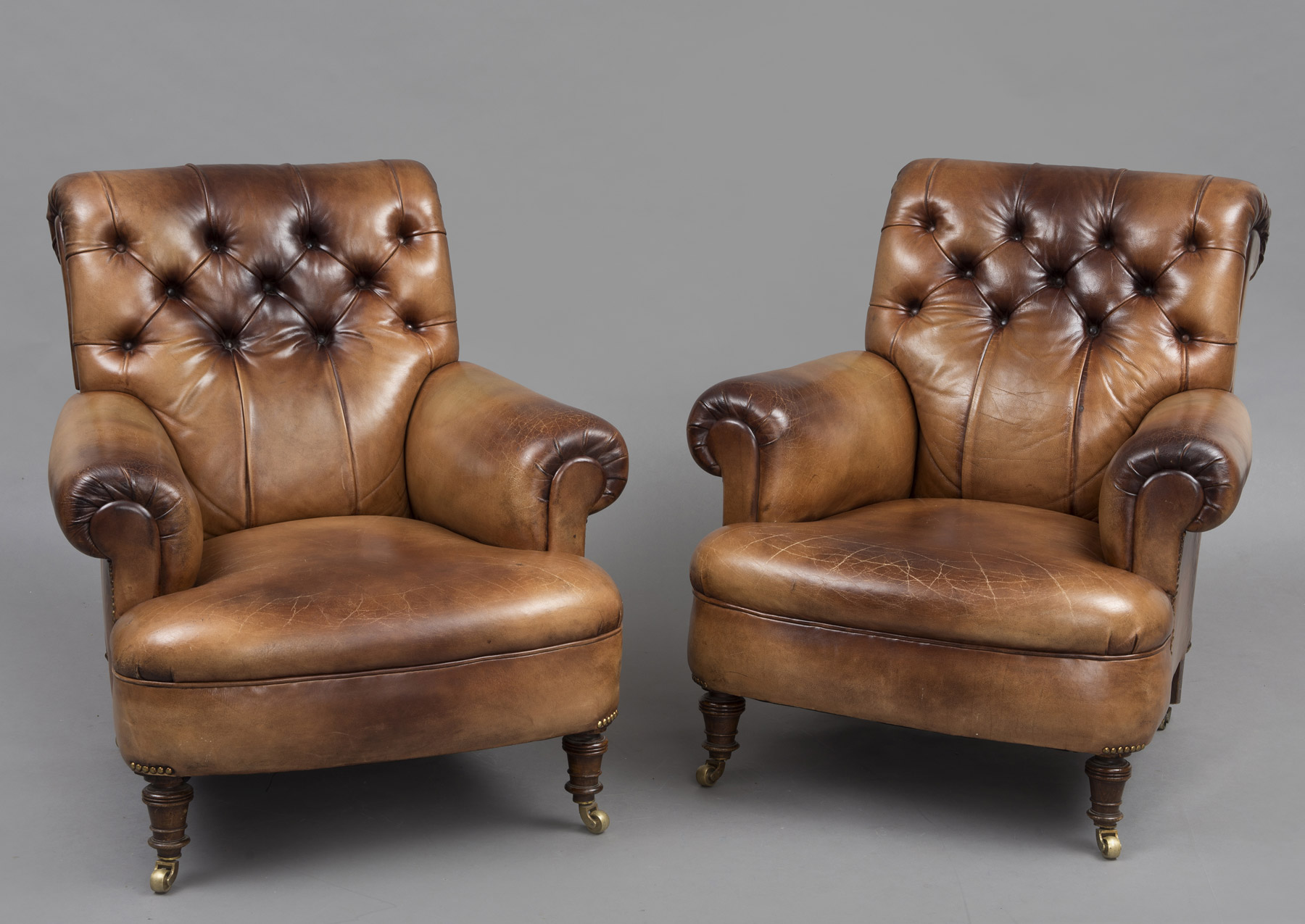 Beau Antique English Pair Leather Club Chairs