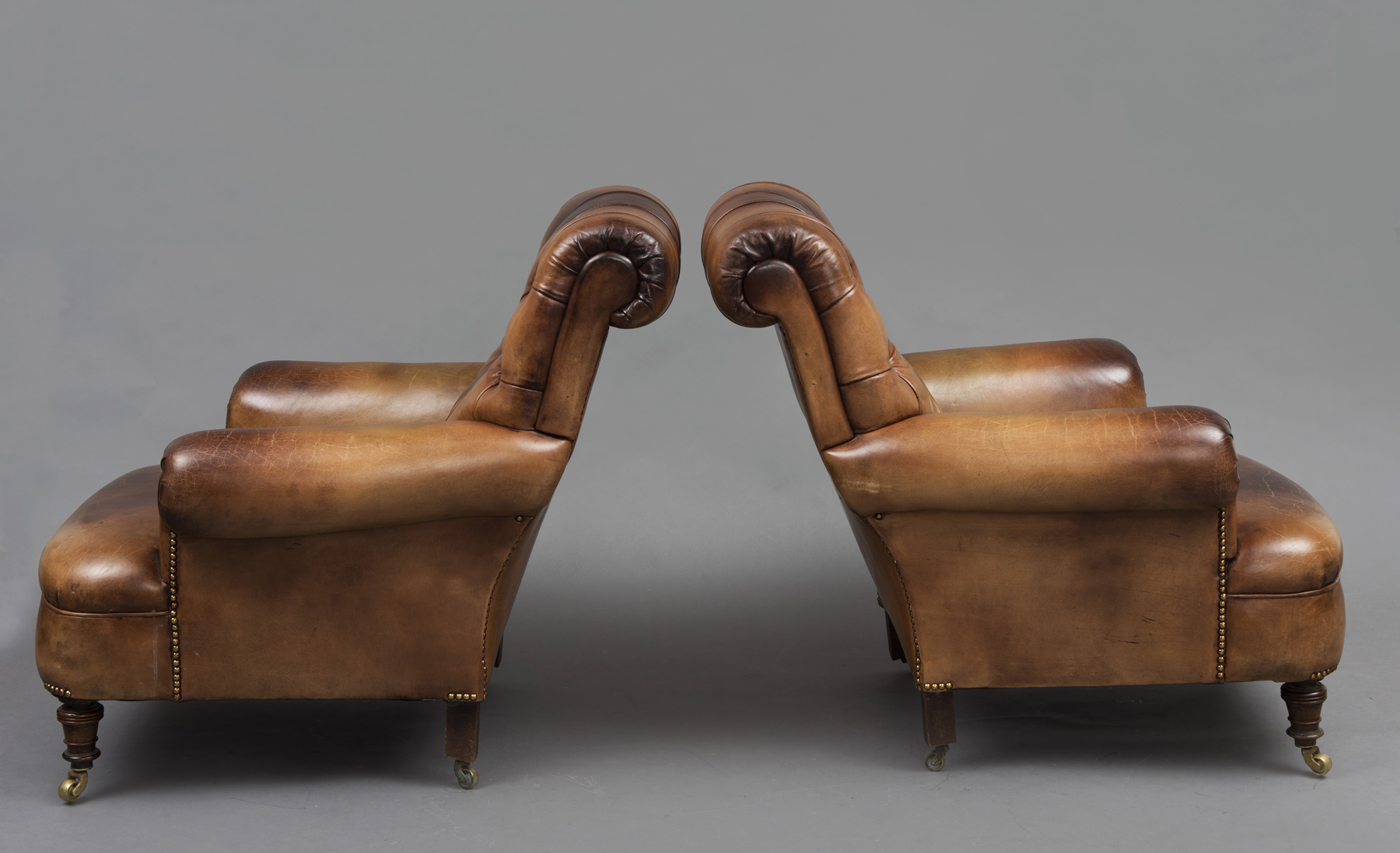 187 Product 187 Antique English Pair Leather Club Chairs