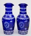 Pair Cobalt Blue Cut-Glass Decanters
