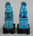 Pair Chinese Turquoise Foo Dogs On Stands, Circa 1900