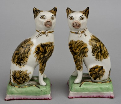 Pair Staffordshire Tabby Cats, Circa 1840