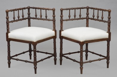 Pair Mahogany Corner Chairs, Circa 1860