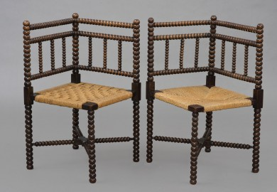 Pair Bobbin Turned Corner Chairs, Circa 1840