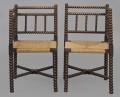 Pair Bobbin Turned Corner Chairs, Circa 1840