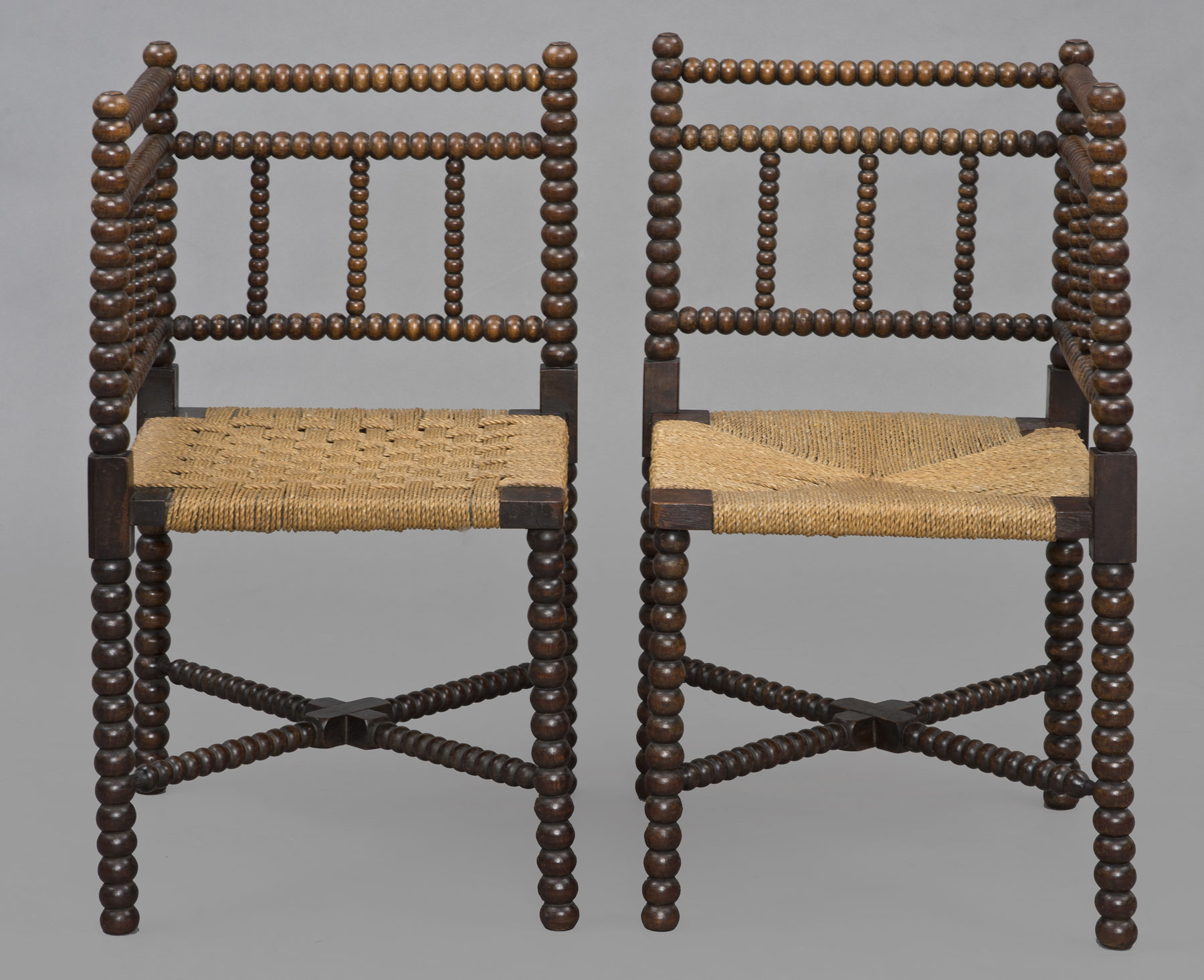 Product Pair Bobbin Turned Corner Chairs Circa 1840