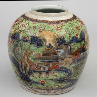 Chinese Blue & White Clobbered Jar, Green Background, Circa 1780