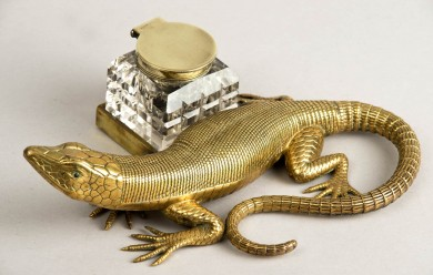 English Antique Brass Salamander Ink Stand, Circa 1890